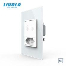 Livolo interruptor padrão eua au, interruptor de toque de parede 67.5mm, controle remoto de 2 vias, vidro de cristal branco, chave de plástico, botão de pressão, com tomada brasileira