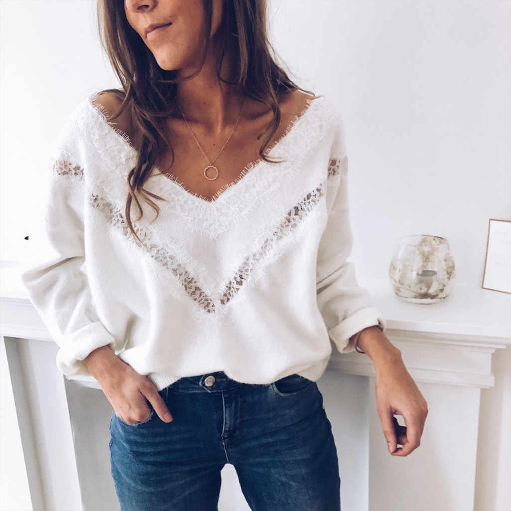 Woman Sweater Spring Autumn 2019 Long Sleeve Hollow Sweater Lace Slim Jumper Fashion Slim Femme Elasticity Pullovers pull femme