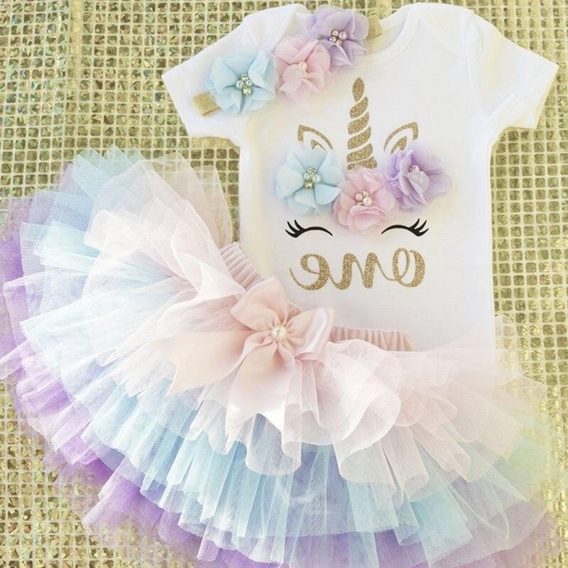 Платье для маленьких девочек на день рождения с изображением единорога вечерние платье праздничное платье для девочки 1 года для новорожденных 1st, платье на крестины, платье для крещения рисунком зайчика для девочек Одежда для младенцев, малышей возрастом от 12 месяцев