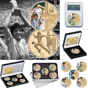 1960-2020 RIP Diego Maradona Gold Plated Commemorative Coin Set with Coin Holder Football Challenge Coins Souvenir Gift for Him