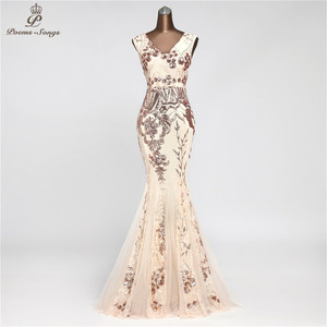 Image 4 - PoemsSongs V neck Mermaid Evening Dress prom gowns Formal Party dress vestido de festa Backless Elegant Sequin robe longue
