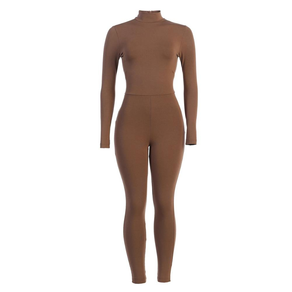 Turtleneck Brown Grey Black Body Rompers Womens Jumpsuit Sexy Activewear Fitness Long Sleeve Leggings Bodycon Jumpsuit Women