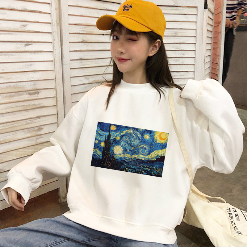 Hot Fashion Winter Clothes Women's Sweater Casual Pullovers Van Gogh Angel Printing White Long Sleeve Harajuku Plus Size Mujer