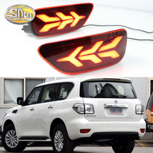 Für Nissan Patrol Y62 2012 ~ 2019 LED Hinten Schwanz Reflektor Stoßstange Licht Bremslicht + Blinker Lampe + fahren Licht