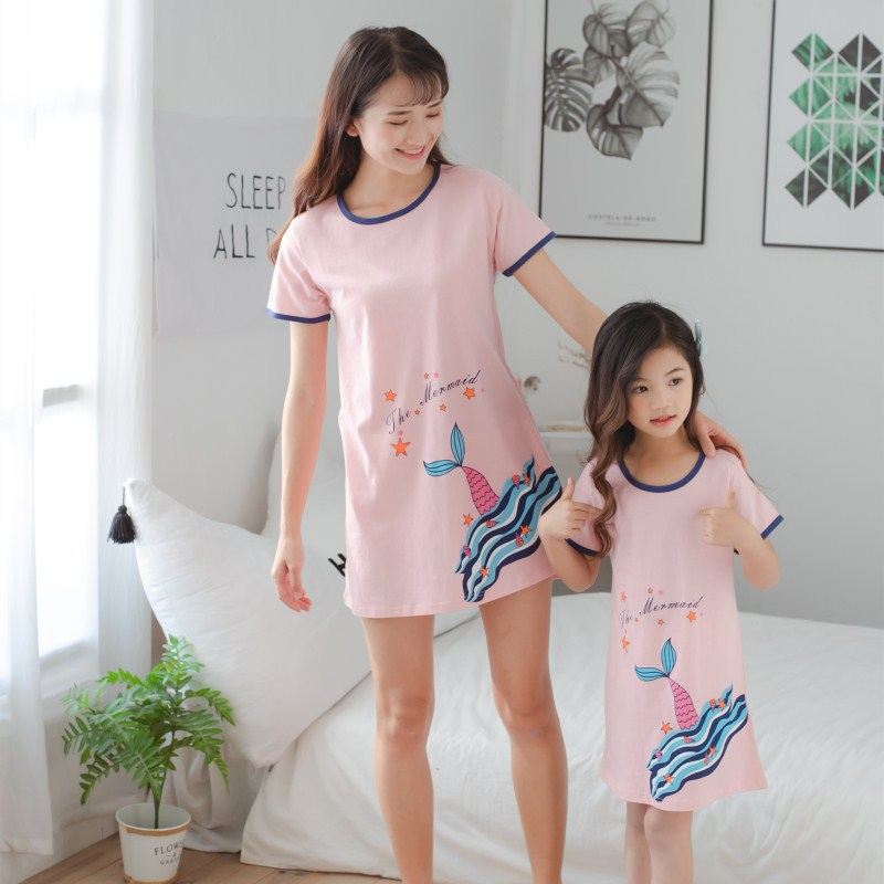 New Summer Unicorn Nightgowns For Women Cotton Dressing Gowns Girls Sleepwear Nightshirts O-neck Nightdress Causal Sleepshirts