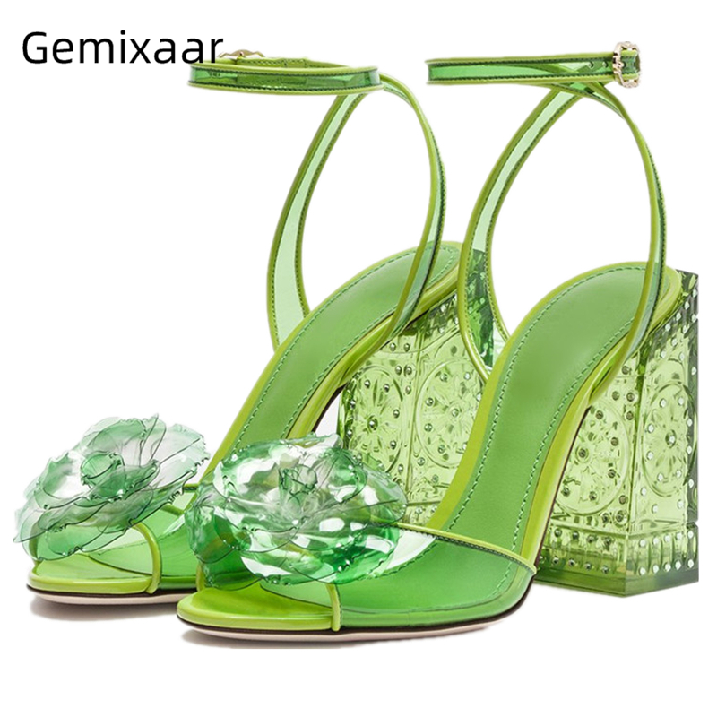 New Coming PVC Flower Sandals Women Cross Band Narrow Buckle Walking Shoes Chic Square High Heel Engraved Flower Women Sandals