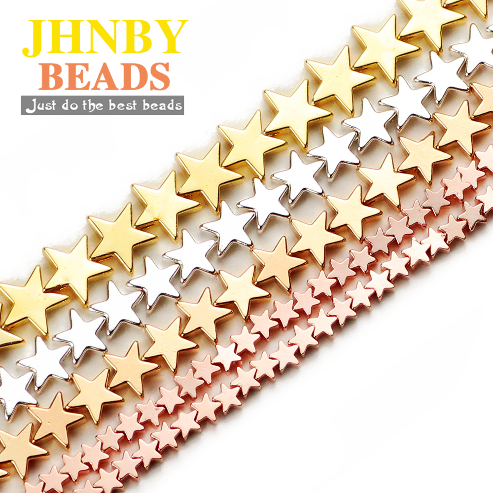"""JHNBY 4/6/8mm Gold, Silvers Star Shape Hematite Natural Stone Spacer loose Beads For Jewelry Making 15"""" Diy Bracelets Necklace"""
