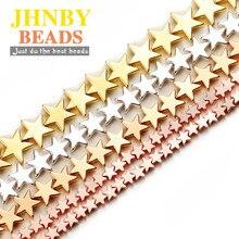 Jhnby ouro 4/6/8mm, miçangas espaçadoras em forma de estrela, silvers, pedra natural de hematita, miçangas soltas para fabricação de jóias, colar pulseiras diy