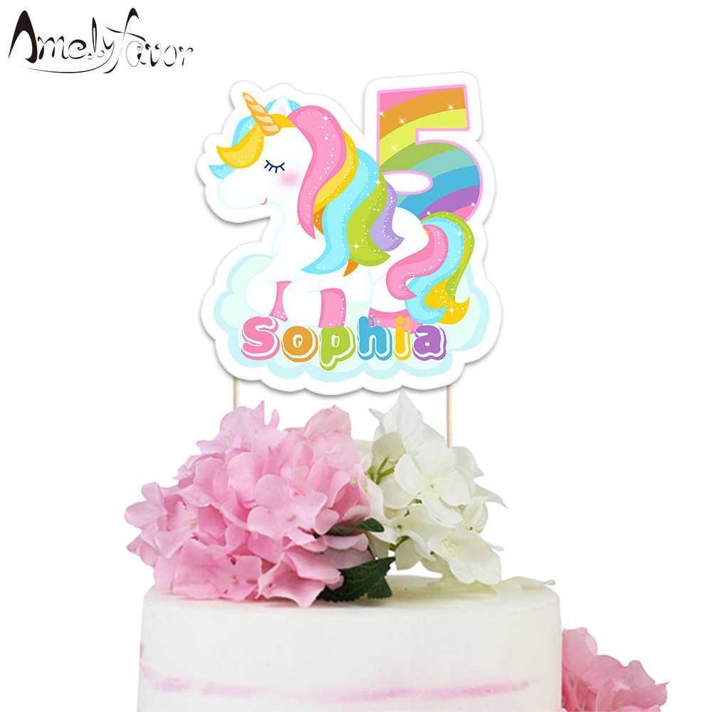 Радуга Единорог тематические праздничные бумажные торт Топпер Беби Шауэр Детский праздник день рождения украшения поставки на заказ торт Топпер