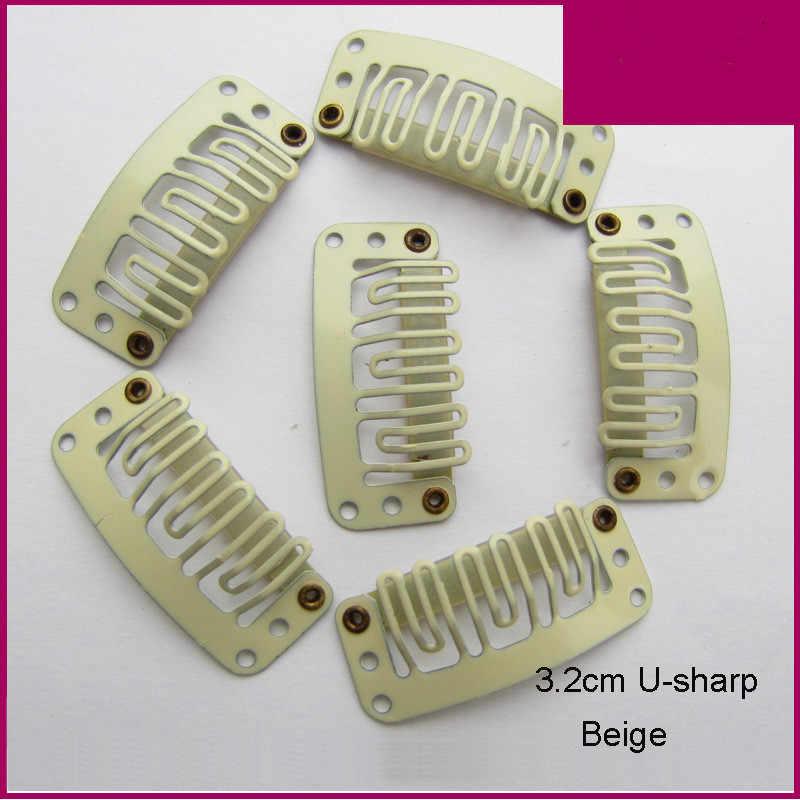 10 piezas 32mm 6-los dientes de la extensión del pelo Clips Snap Clips de Metal Clip en extensiones de cabello humano peluca peine Clips