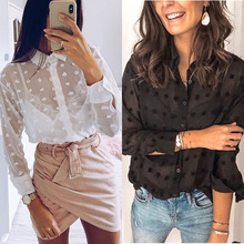 2020 New Summer Women Shirt Solid Color Lapel Long Sleeve Cut Flower Decoration Women Shirt Casual High Grade Printing Women Top