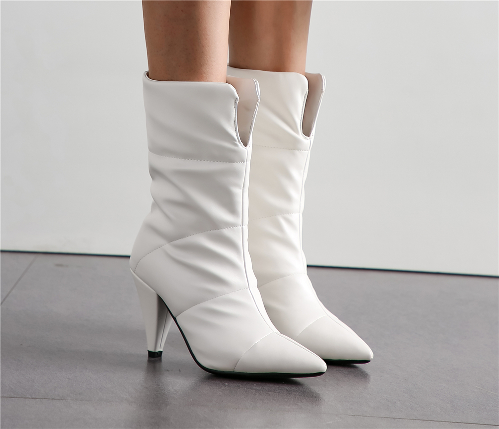 BONJOMARISA New Hot Sale 34 43 Winter Waterproof mid calf Boots Women 2019 Office Lady Warm Fur Boots High Heels Shoes Woman in Mid Calf Boots from Shoes
