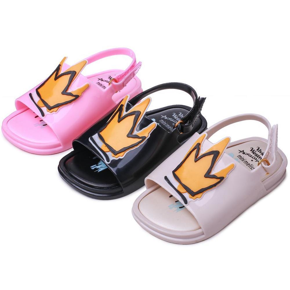 Melissa Crown And Red Heart Mini Sandals 2019 New Summer Rain Shoes Jelly Shoe Girl Non-slip Kids Sandal Toddler MN19006