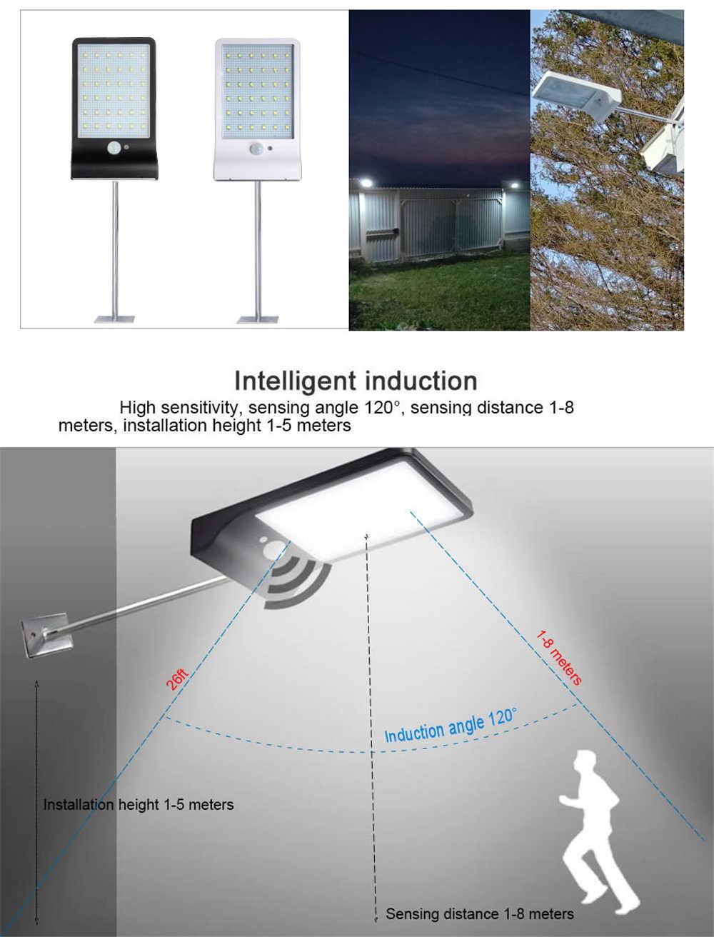 48/36 светодиодный светильник на солнечной энергии, водонепроницаемый домашний двор, уличный светильник, светодиодный светильник на солнечной батарее, Уличный настенный светильник с металлическим полюсом
