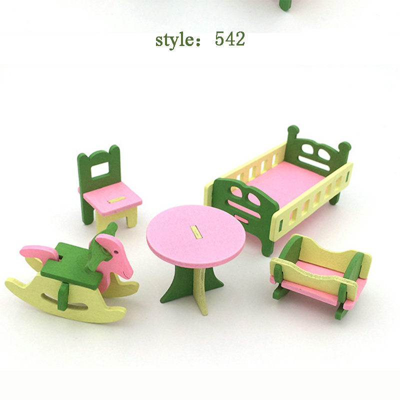 Wooden mini simulation small furniture set play house wooden toy children toys