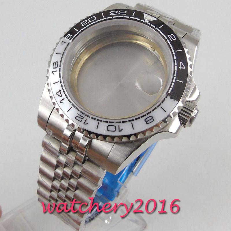 40mm sapphire glass Watch Case jubilee strap fit miyota 8215 821A 8205 Movement