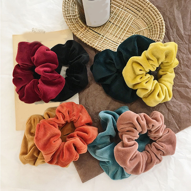 1PC Solid Color Thick Velvet Scrunchie Women Sweet Hair Accessories Girls Hair Ring Elastic Hair Bands Rope Ties Ponytail Holder