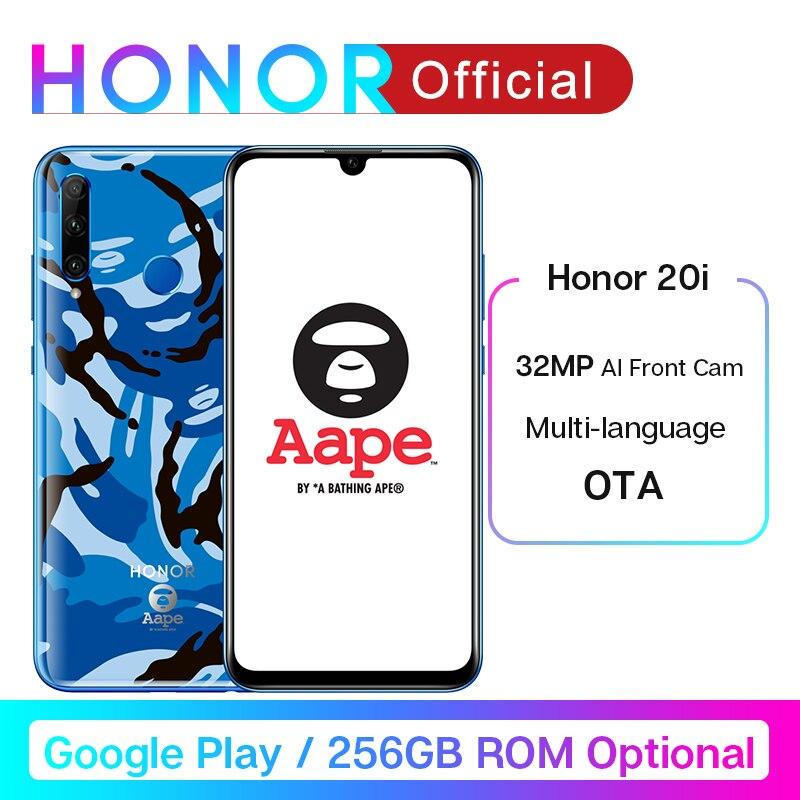 Honor 20i Honor 20 Lite Smartphone 6.21'' 32MP AI Front Camera Face Fingerprint Unlock Mobile Phone Android 9.0 Google Play