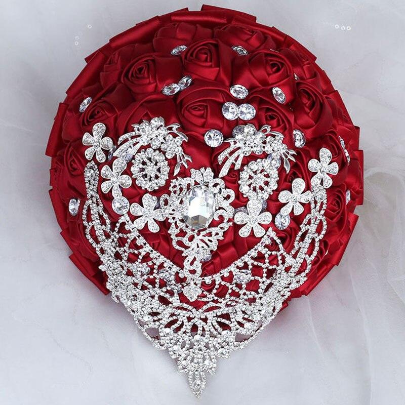 Burgundy Silk Rose Wedding Flowers Bridal Bouquets Handmade Crystal Bridesmaid Bouquet Holding W289D