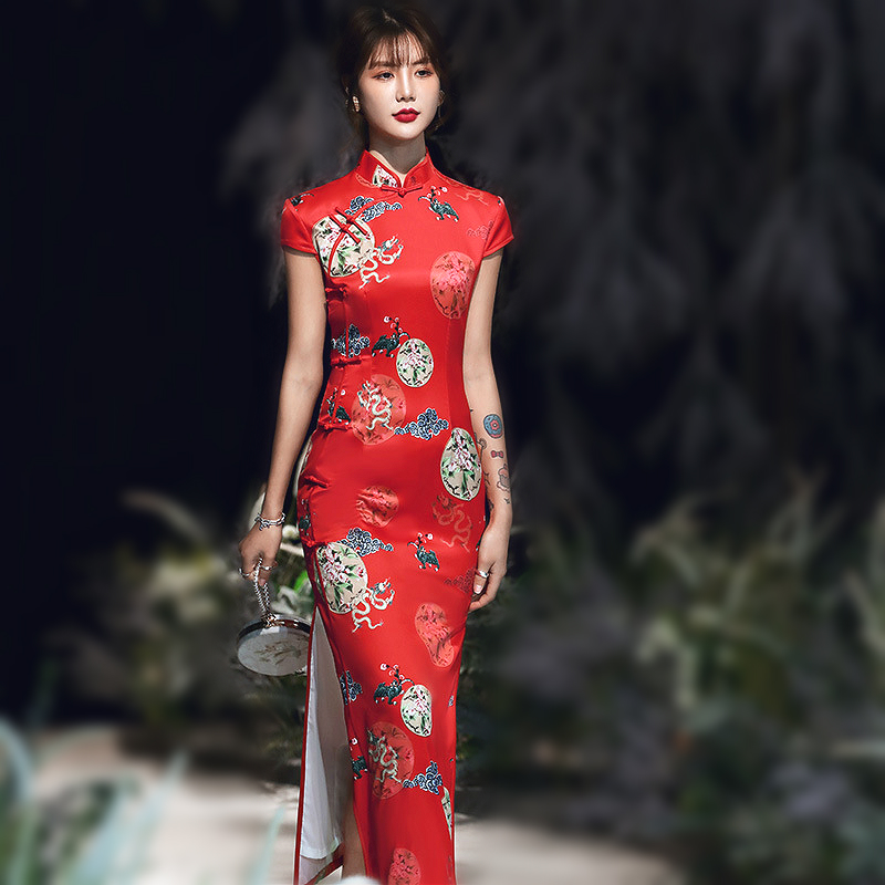 Women Plus Size Red Dragon Chinese Qipao Dress Chinese Traditional Dragon Pattern Design Cheongsam Elegant Long Silk Dress