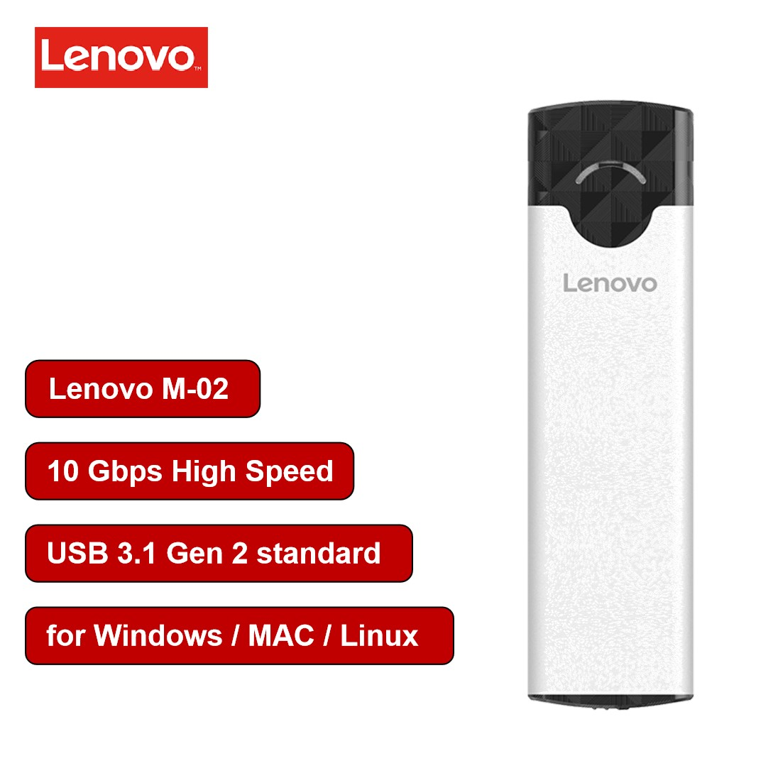 Lenovo M2 <font><b>SSD</b></font> Case NVME Enclosure M.2 to <font><b>USB</b></font> Type C <font><b>3.1</b></font> <font><b>SSD</b></font> Adapter for NVME PCIE NGFF M Key <font><b>SSD</b></font> Disk <font><b>Box</b></font> M.2 <font><b>SSD</b></font> <font><b>box</b></font> nvme case image
