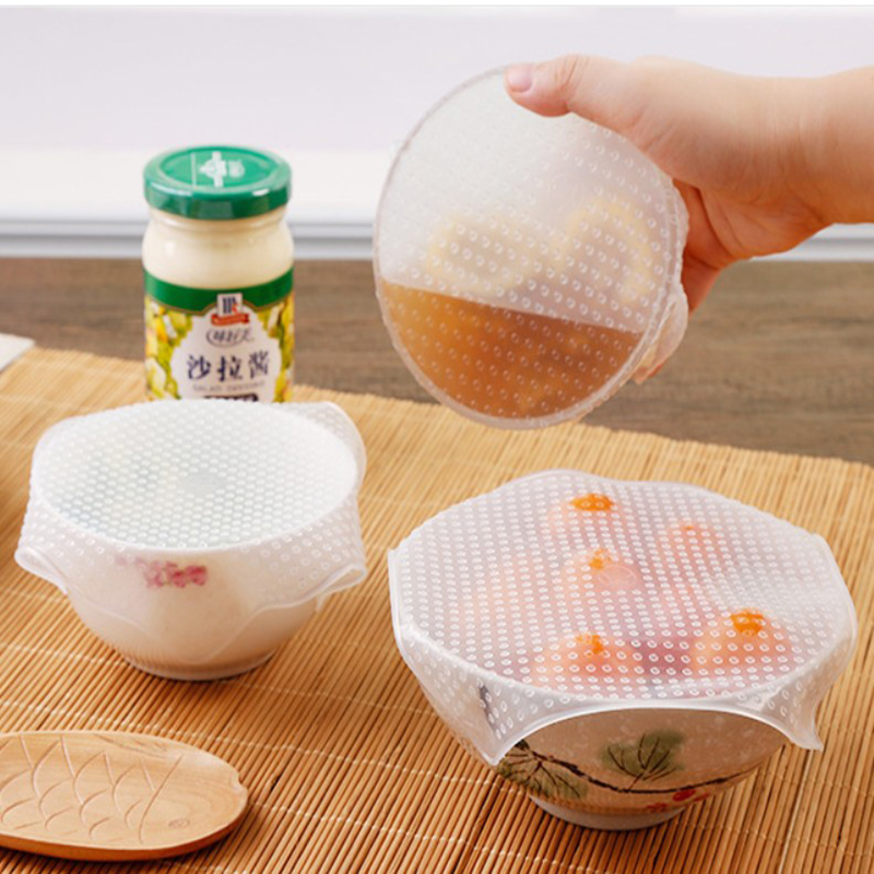 4 Pcs/set Silicone Seal Bowl Lid Food Wrap Kitchen Accessories Zero Waste Reusable Refrigerator Microwave Oven Available Stretch