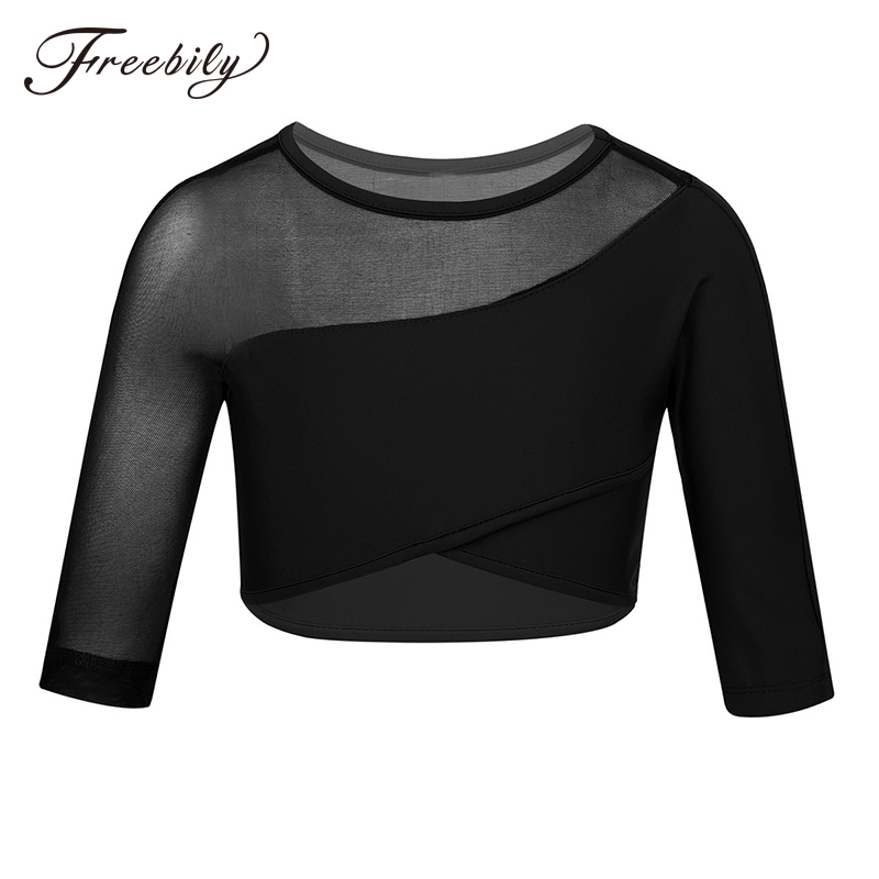 Girls 3/4 Sleeves Asymmetrical Dance Crop Top For Ballet Dance Stage Performance Sports Workout Tops Child Kids Dance Wear