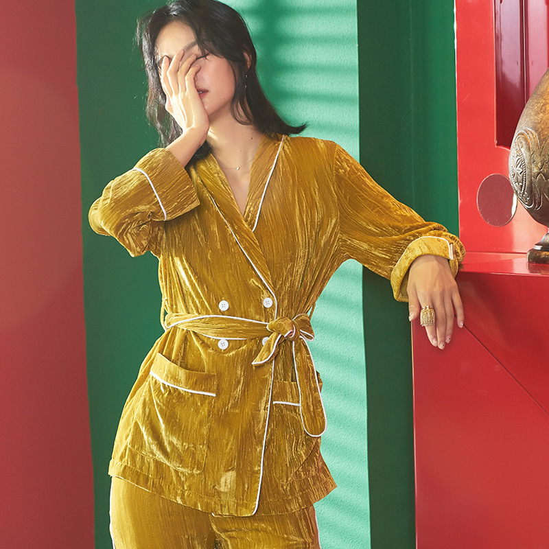Women's Winter Korean Cute Turmeric Cloud Pyjama Long-sleeved Pajamas Winter Warm Thick Home Wear Set Plus Size Soft Sleepwear 16
