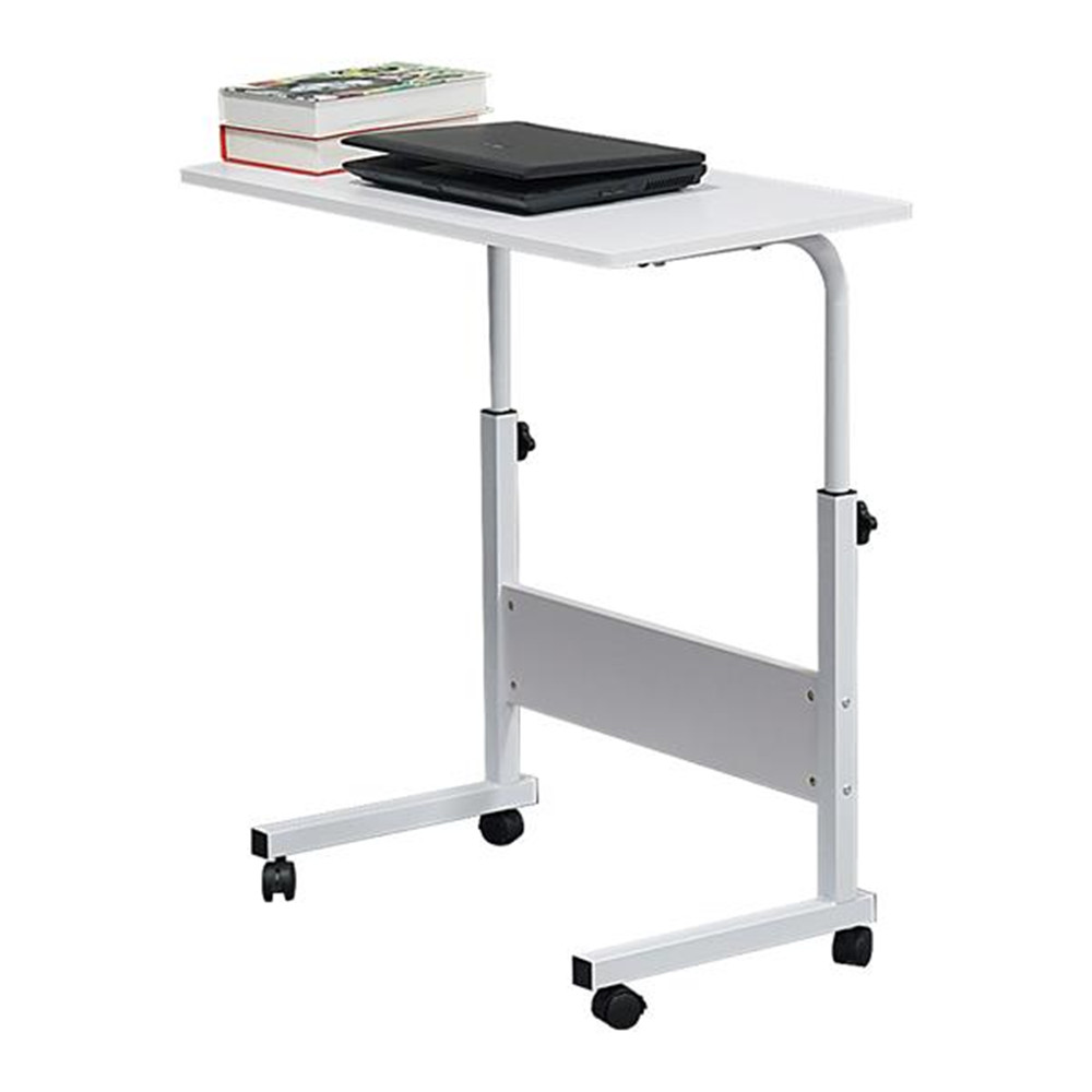 Detachable P2 15MM Particleboard And Steel Side Table With Bezel White With Roller Adjustable Height Computer Table