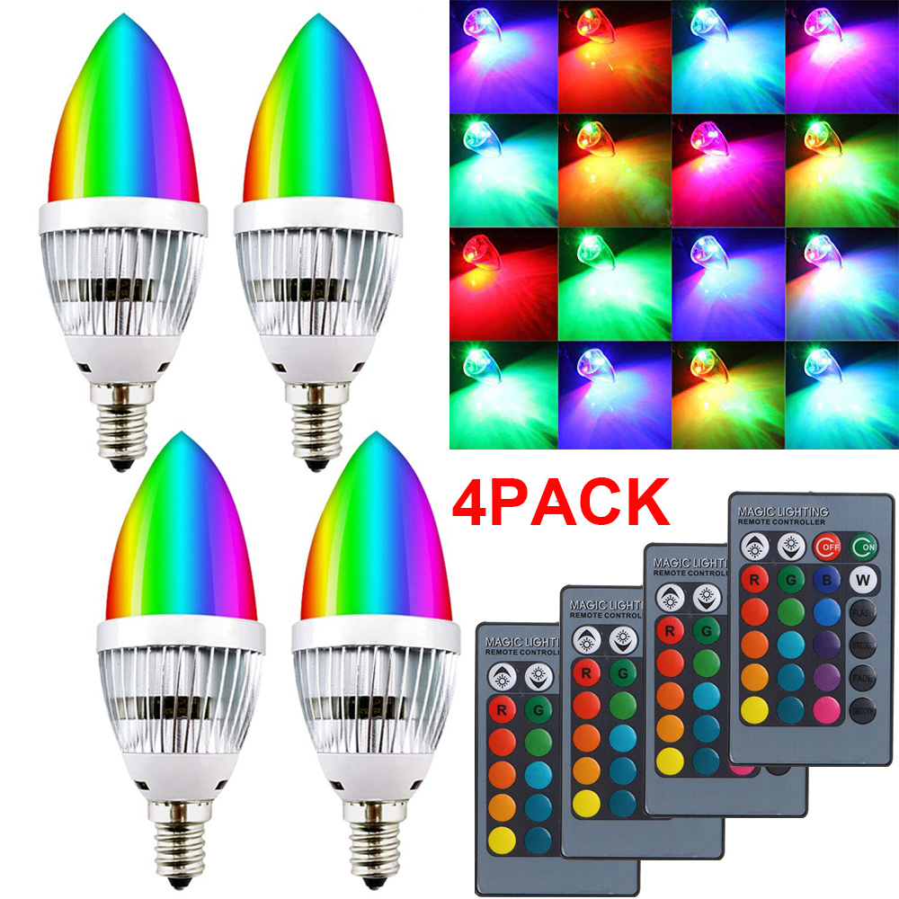 3W Led Candle Bulb RGB E12 E14 Candelabra 16 Colors Change Dimmable LED Light Lamp Remote Control Bulb For Home Bar Party D40