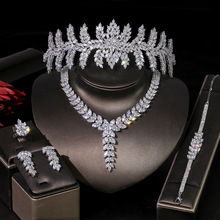 ASNORA Bracelet Zircon-Set Earring Necklace Wedding-Jewelry-Set Crown Ladies New T0854
