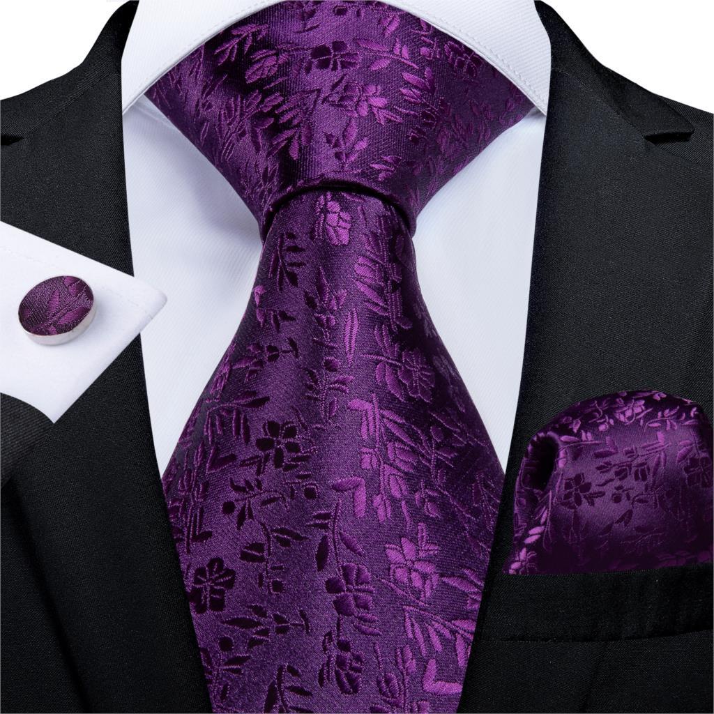 Gift Men Tie Purple Solid Floral Silk Wedding Tie For Men Hanky Cufflink Business Men Tie Set DiBanGu New Designer Party MJ-7267