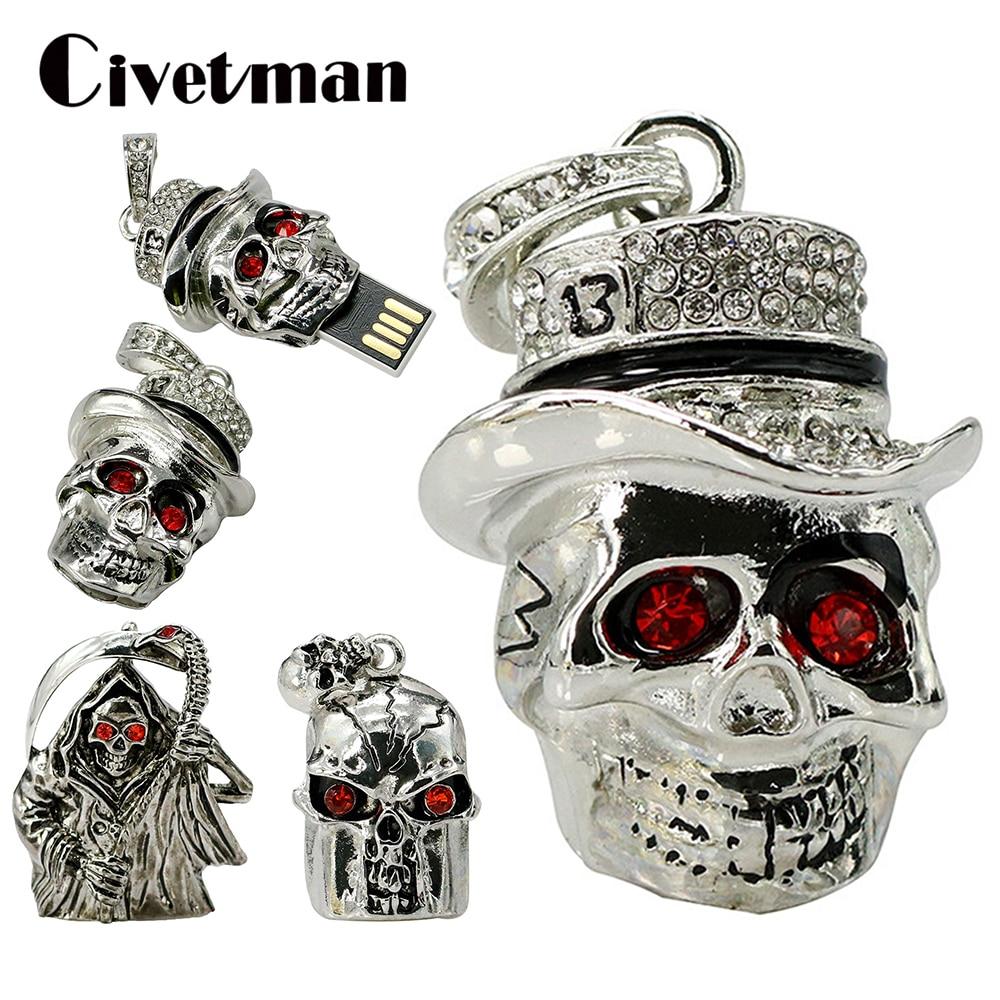 Metal Skull Necklace Pen Drive 8GB 16GB 32GB 64GB Crystal Head Skeleton Shape USB Flash Drive Mini Pendrive Memory Stick Disk