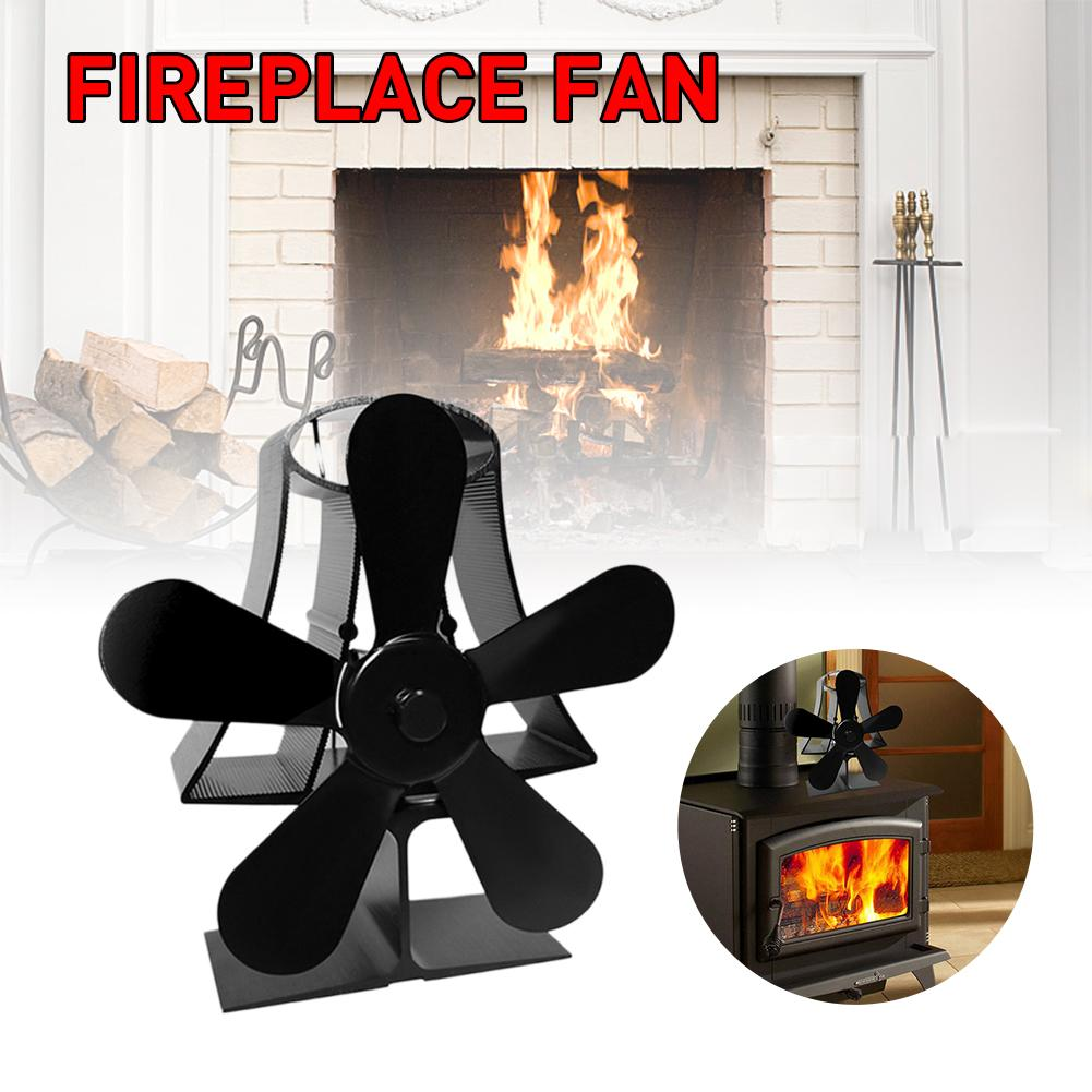Black Fireplace 4 Blade Heat Powered Stove Fan Heat Powered komin Wood Burner Eco Fan Home Fireplace Fan Efficient Heat image