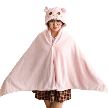 New rabbit bunny cape cartoon hooded flannel cape baby out windshield blanket shawl фото
