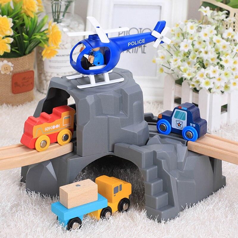 Большой пластиковый двойной туннель для деревянной железной дороги, игрушечный поезд для детей, малышей, мальчиков и девочек, совместим со ...