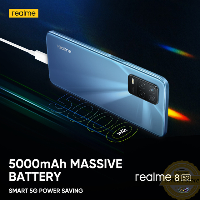 realme 8 5G Global Russian Version NFC Dimensity 700 90Hz Display Smartphone 5000mAh 48MP Triple Camera 4GB 64GB 6