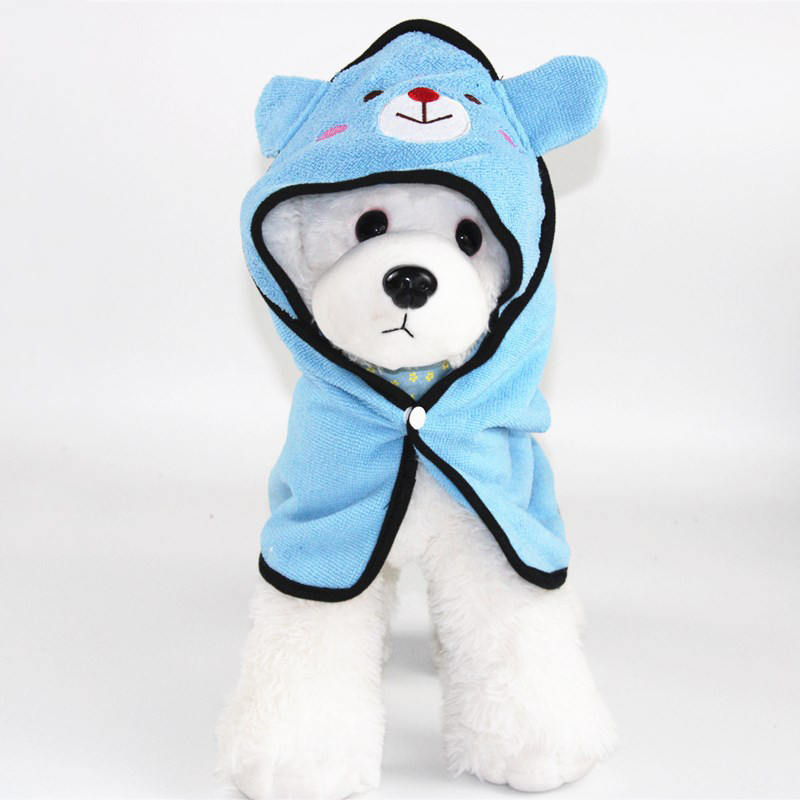 Cute Pet Dog Cat Towel Pets Drying Bath Towels with Hoodies Warm Blanket Soft Drying Cartoon Puppy Super Absorbent Bathrobes 8