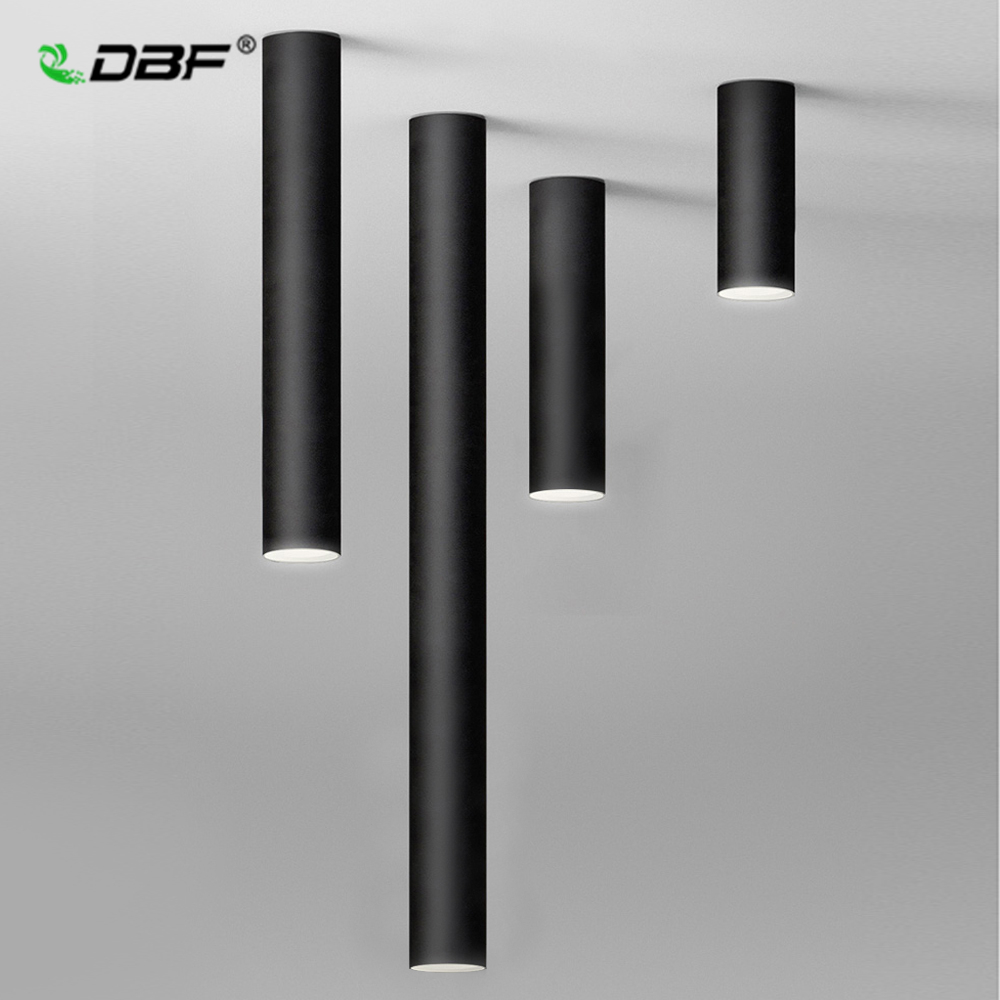 [DBF]Nordic Europe LED Surface Mounted Ceiling Spot Light 5W White/Black AC85-265V Long Tube Kitchen Bar Living Room Home Indoor