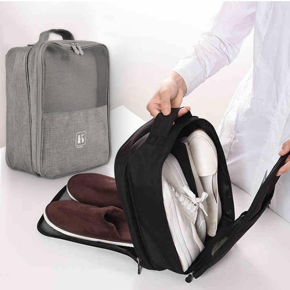 Portable Shoes Bags Polyester Foldable Pouch Beach Storage Bag Dustproof Shoes Organizer Convenient Travel Accessories