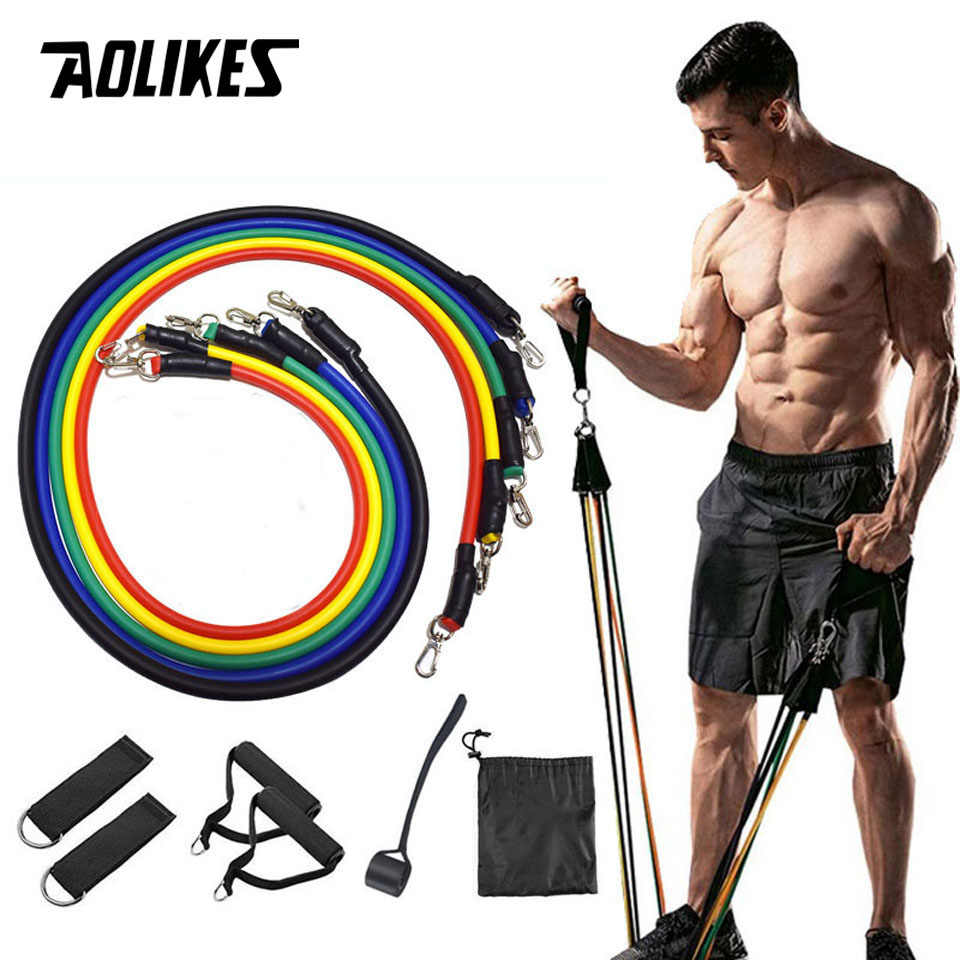 11 PCS Strong Resistance Bands Set Exercise Fitness Expanders Yoga Stretch Bands