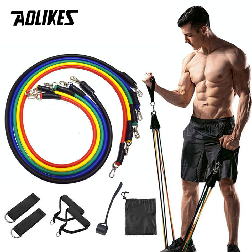 AOLIKES 11Pcs/Set Resistance Bands Yoga Fitness Rubber Tubes Expander Band Stretch Training Home Gyms Exercise Workout Pull Rope