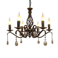 Europe Vintage Wrought Iron Crystal Chandelier E14 Candle Lamp Retro Metal Chandeliers for dining room living room bar lighting