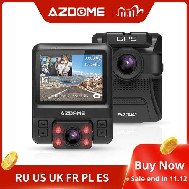 Оригинальный AZDOME GS65H видеорегистратор мини с двумя объективами Автомобильный видеорегистратор Novatek 96655 Full HD 1080P автомобильная камера ночного видения для Uber Lyft Taxi
