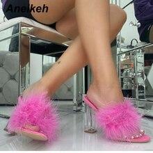 Aneikeh 41 42 Fashion Sandals Women Open Toe Sexy Transparent