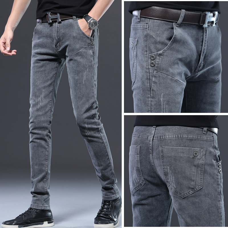 men jeans fashion 2020 plus size skinny straight denim trousers for mens High Waist slim fit jean pantalones gray Casual clothes