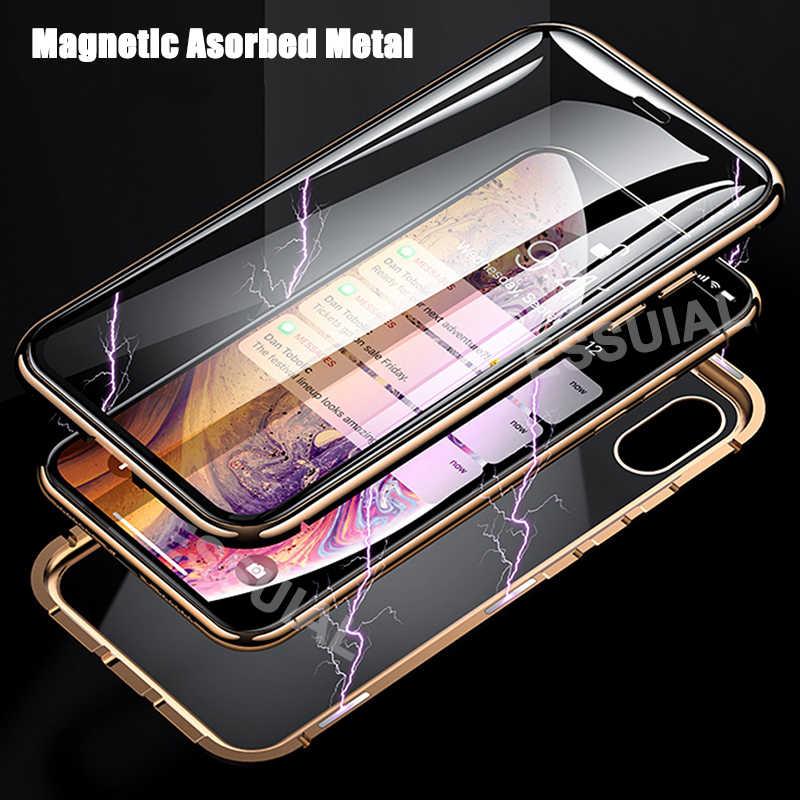 كفر معدني مغناطيسي ممتص لهاتف آيفون SE 11 Pro XS Max XR حافظة مغناطيس زجاجية على الوجهين لهاتف آيفون 7 8 6 6s Plus X XR