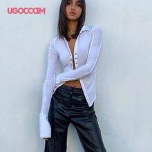 UGOCCAM-Blusa de punto con botones de Metal para mujer, camisa Sexy con elasticidad apretada, manga larga, cuello vuelto