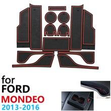 Противоскользящие резиновые чашки подушки двери паз коврик для Ford Mondeo Fusion V MK5 5 2013~ 14 шт. аксессуары коврик для телефона