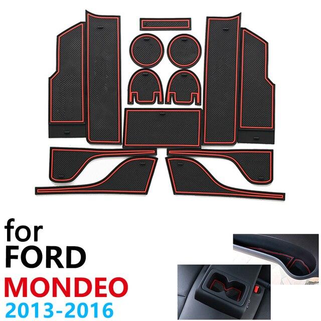 Tapis de téléphone antidérapant pour porte et coussin en caoutchouc, pour Ford Mondeo Fusion V MK5 5 2013 ~ 2016 2014, 14 pièces, accessoires pour téléphone